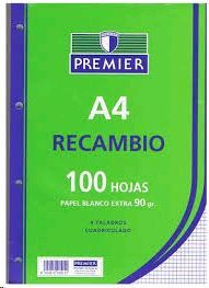 PAQ.100 HOJAS 90GR CUADRICULADA 4 TALADROS   PREMIER8424212955194