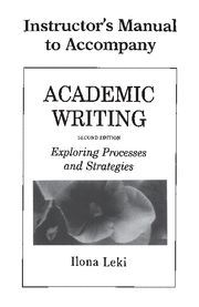 ACADEMIC WRITING INSTRUCTOR'S MANUAL 2ND EDITION