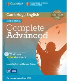 COMPLETE ADVANCED (2ND ED.) WORKBOOK WITHOUT ANSWERS WITH AUDIO CD