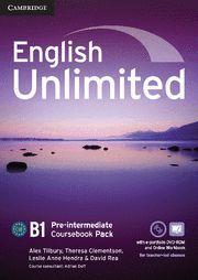ENGLISH UNLIMITED PRE-INTERMEDIATE COURSEBOOK WITH E-PORTFOLIO AND ONLINE WORKBO