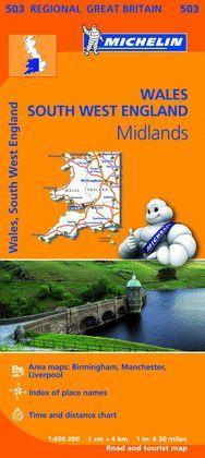 MAPA REGIONAL WALES, THE MIDLANDS, SOUTH WEST ENGLAND