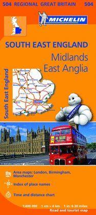 MAPA REGIONAL SOUTH EAST ENGLAND, MIDLANDS, EAST ANGLIA