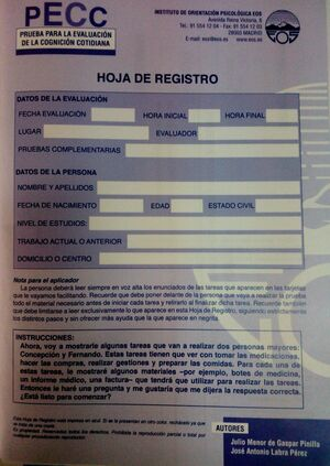 PRUEBA PARA LA EVALUACIÓN COGNITIVA COTIDIANA (PECC): HOJA DE REGISTRO